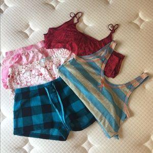 Bundle: 3 shorts, 2 tops